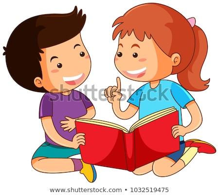 Jongen meisje lezing verhalenboek illustratie boek Stockfoto © colematt