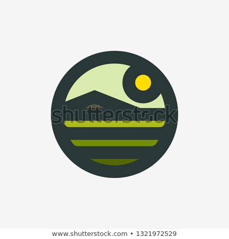 Logo or icon of rural landscape with agro field and mountain Stock photo © ussr
