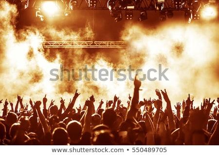 siluetleri · konser · kalabalık · parlak · sahne · ışıklar - stok fotoğraf © lopolo