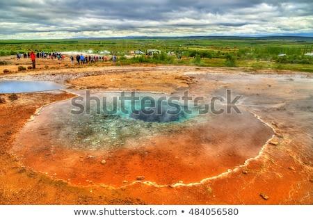 谷 アイスランド 赤 粘土 亀裂 意外 ストックフォト © Kotenko
