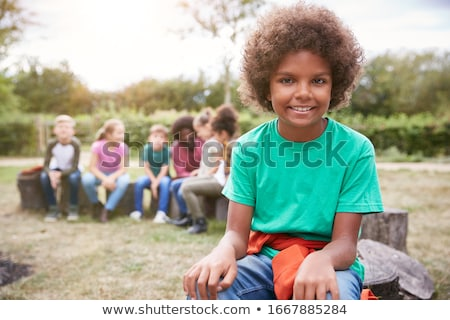 Boys camping in the field Stock photo © colematt