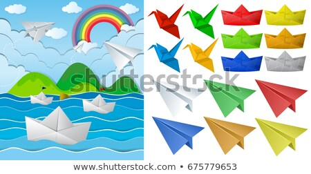 Ocean carta origami diverso oggetti illustrazione Foto d'archivio © colematt