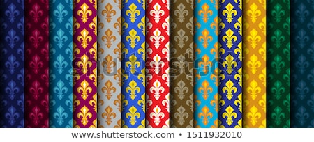 Royal Heraldic Lilies (Fleur de lis) -- Rich colorful wallpaper, fabric textile, seamless patterns. Stock photo © Glasaigh