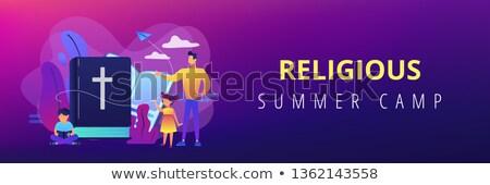 Religious summer camp concept banner header. Stockfoto © RAStudio