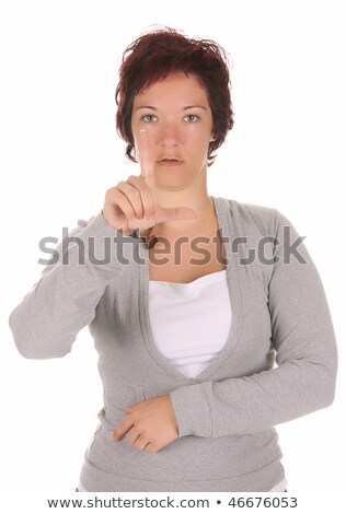 beauty young deaf person hand demonstrating stock photo © vladacanon