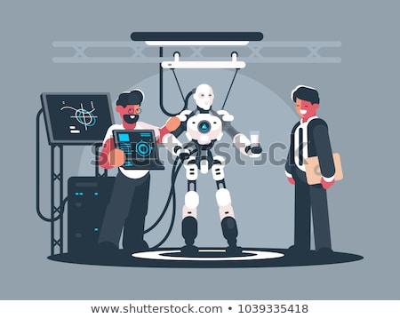 Men on robot presentation Stock photo © jossdiim