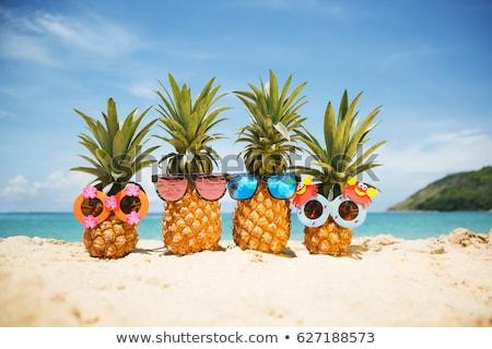 Stockfoto: Zonnebril · strand · ananas · dek · stoel