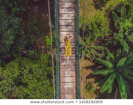 Jeune femme pont suspendu Kuala Lumpur Malaisie fille bois Photo stock © galitskaya