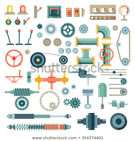 Construction machinery flat icon set Stock photo © netkov1