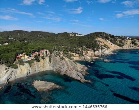 Aerial phto of Palma de Mallorca coastal seaside stony beaches t Stock photo © amok