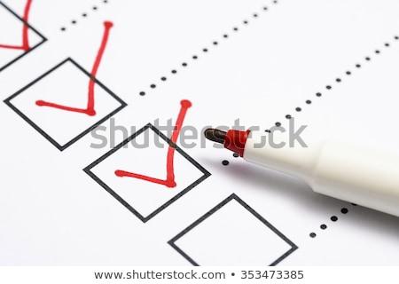 Vraagteken teken papier document Rood fiche Stockfoto © AndreyPopov
