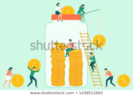 coins in jar attraction of capital save vector stock photo © robuart