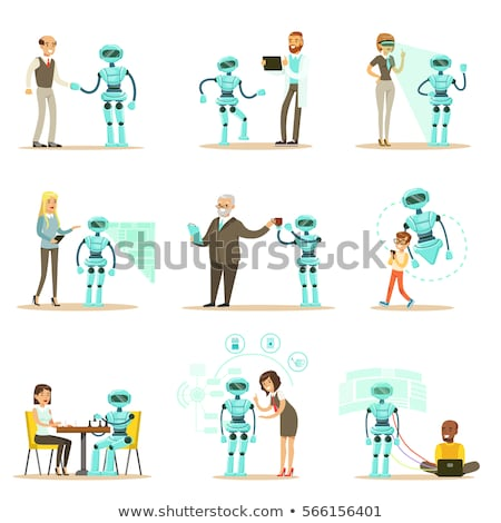 artificial intelligence and handshake set vector stock photo © robuart