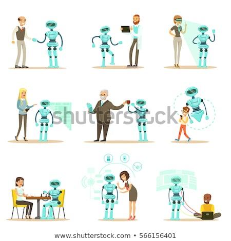 Inteligência artificial aperto de mão conjunto vetor cadeia geométrico Foto stock © robuart