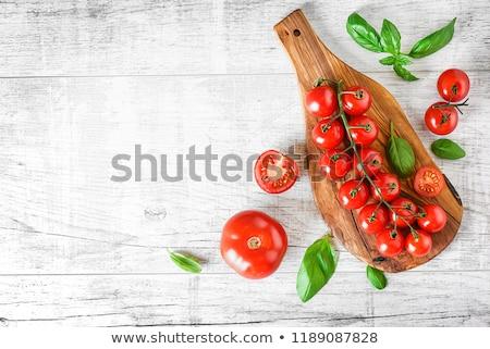Taze domates beyaz çanak sarımsak Stok fotoğraf © marylooo