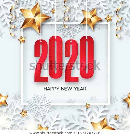 happy new year 2020 numbers with golden snowflakes on a red stock photo © ussr