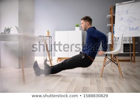 işadamı · yoga · ofis · büro · bilgisayar · mutlu - stok fotoğraf © andreypopov