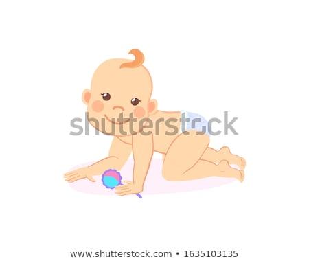 Mérföldkövek baba hat hónap áll hét Stock fotó © robuart