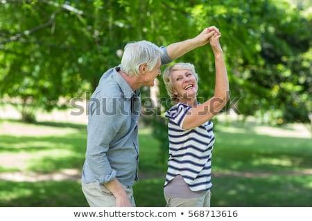 boldog · idős · pár · tánc · nyár · park · aggkor - stock fotó © andreypopov