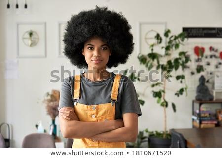 деловая · женщина · кабельное · телевидение · камеры · компьютер · молодые - Сток-фото © pressmaster