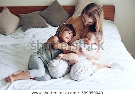 Vier maand oude baby jongen zus Stockfoto © Lopolo