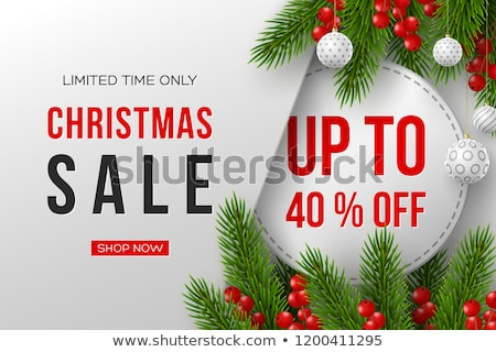 Christmas Sale banner. Realistic fir-tree branches with berries and red gift box on wooden red backg Stock photo © ikopylov