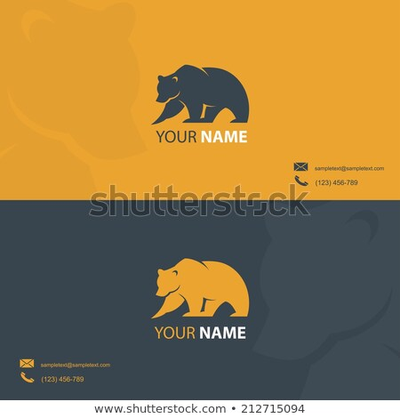 Card template with grizzly bear Stock photo © bluering