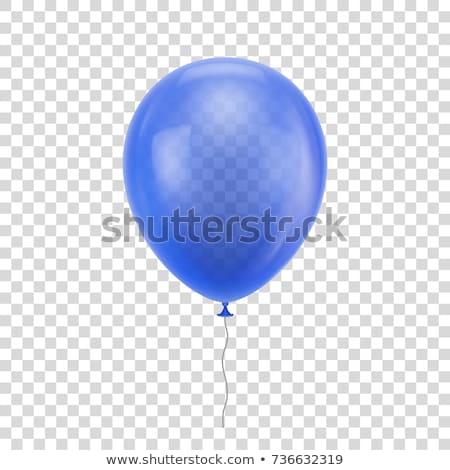 realista · azul · balão · transparente · sombra - foto stock © olehsvetiukha
