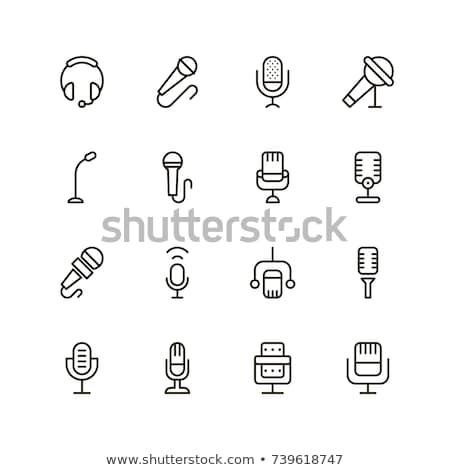 Műsorszórás mikrofon ikon skicc illusztráció vektor Stock fotó © pikepicture