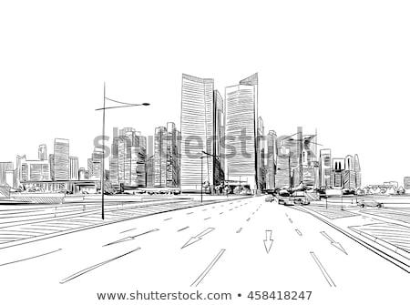 Auto stadsgezicht tekening schets wolkenkrabbers vector Stockfoto © robuart