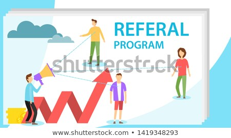 Icon with business team for partner program or referrals network Stock photo © ussr