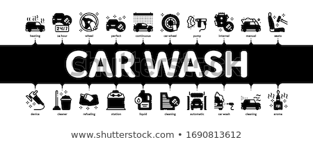 Car Wash Auto Service Minimal Infographic Banner Vector Stock photo © pikepicture