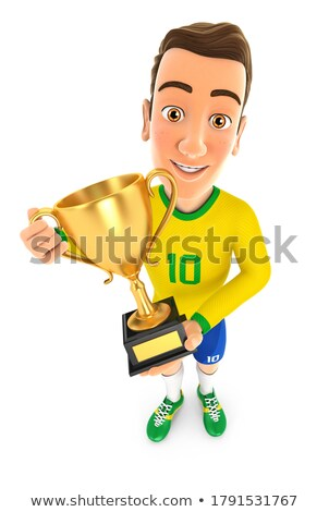 3D futbolista amarillo pie oro trofeo Foto stock © 3dmask
