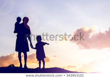 ストックフォト: シルエット · 将来 · 母親 · クローズアップ · 白 · 青