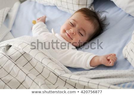 Stock foto: Cute · Baby · schlafen · Mädchen · glücklich · Augen