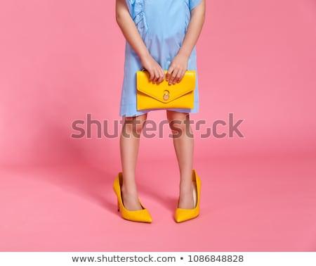 Kislány nagy cipők vicces divat aranyos Stock fotó © rognar