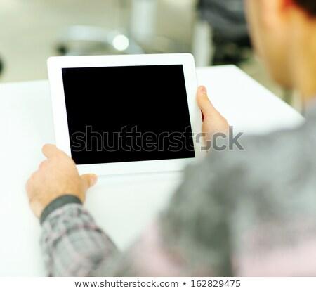 halten · Tablet-Computer · isoliert · weiß · Haus - stock foto © dacasdo