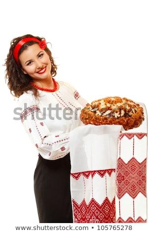 atraente · mulher · vermelho · miçanga · retrato - foto stock © marylooo