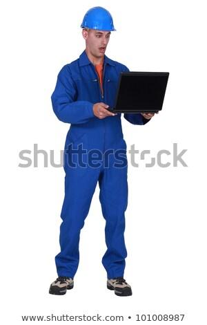 Encanador laptop internet homens boca pessoa Foto stock © photography33