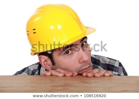 Tímido industria trabajador industrial sombrero Foto stock © photography33