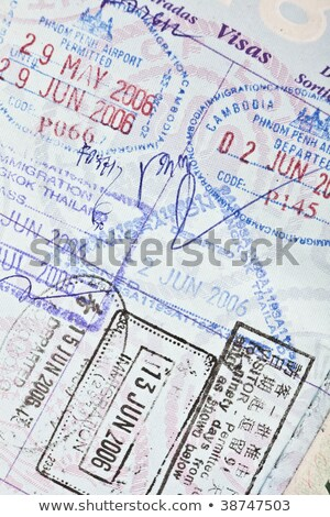 Visa stamps in US passport Thailand Cambodia Stock photo © backyardproductions
