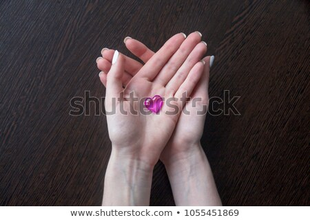 Woman with a heart laying on the palm of her hand Stock photo © photography33