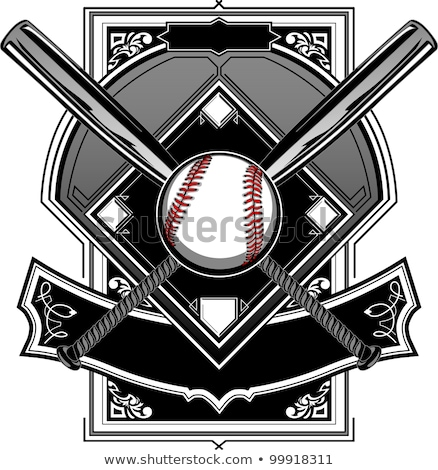 Baseball Bats Baseball On Ornate Vector Graphic Foto stock © ChromaCo
