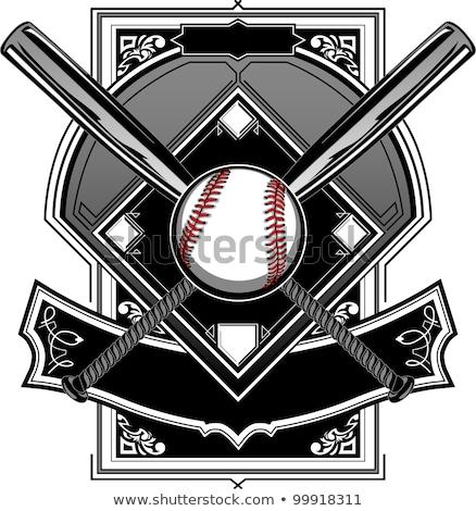 Baseball Bats, Baseball, on Ornate Vector Graphic Stock photo © chromaco