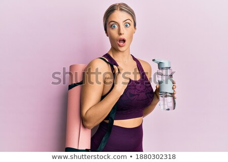 megrémült · szőke · nő · vicces · arc · szürke · lány - stock fotó © acidgrey