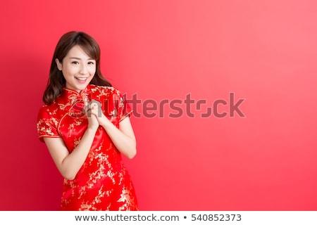 chinês · menina · saudação · tradicional · isolado · branco - foto stock © szefei