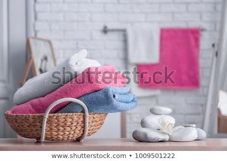 banheiro · toalhas · isolado · branco · beleza · relaxar - foto stock © kitch