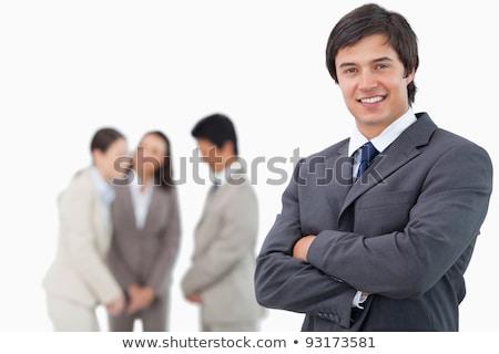 mosolyog · kereskedő · karok · összehajtva · fehér · férfi - stock fotó © wavebreak_media