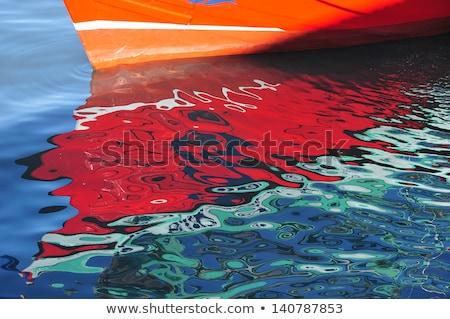 Abstract boot reflectie twee vissen boten Stockfoto © Gordo25