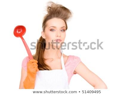 красивой домохозяйка красный ковш фотография женщину Сток-фото © dolgachov
